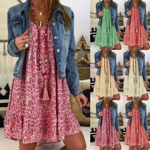 Plus-Size-Women-Floral-Summer-Mini-Dress-Loose-Beach-Holiday-Swing-Shirt-Dress
