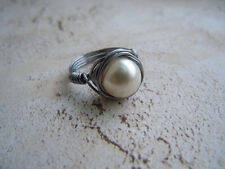 Pearl Ring, Cocktail Ring, Wire Wrapped Ring, Statement Ring, Gift For Her