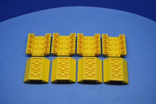 LEGO 8 x Base pierres réfractaire Coque 45 ° invers 4x4 Jaune Yellow Shaft 4854