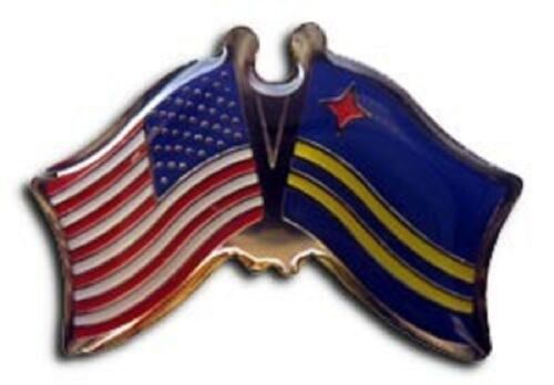 USA ARUBA FRIENDSHIP CROSSED FLAGS LAPEL PIN NEW
