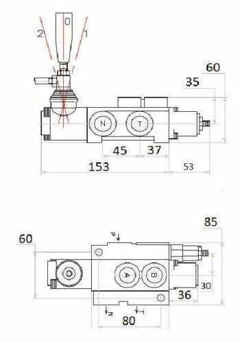 Handsteuerventil Handhebelventil Hydraulik 40L 1-fach einfachwirkende Zylinder