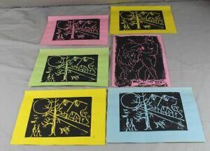 6 Gravures-diff. Couleur Feuilles - 2 Diff. Motifs-signé-din A4-afficher Le Titre D'origine Art De La Broderie Traditionnelle Exquise