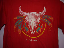 Vintage 80s Native American Indian Steer Skull Colorado T Shirt Red S