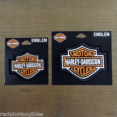 Harley Davidson Authentic Patches Set of 2 - Classic Logo - Made in USA - Orange