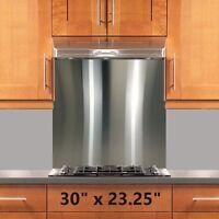 Range Hood Stove Backsplash 30x23.25in Stainless Steel Wall Shield W/hemmed Edge