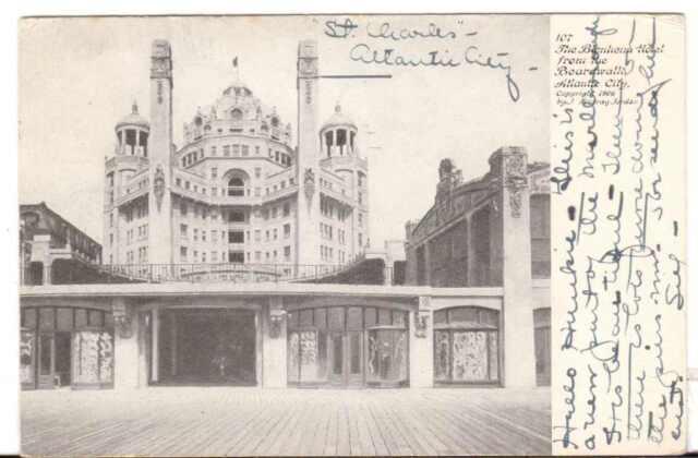 1906 Postmarked Postcard The Blenheim Hotel from the Boardwalk Atlantic City NJ