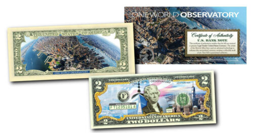 ONE WORLD OBSERVATORY 2-Sided Colorized U.S $2 Bill WORLD TRADE CENTER WTC