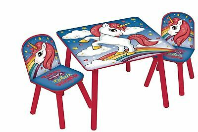 Unicorn Table And 2 Chairs Set Childrens Kids Toddler Nursery Playroom Furniture