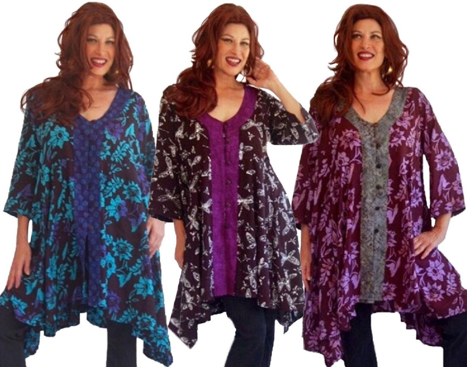 Bohemian Design Shirt Blouse - Art Batik Buttons - Plus Größes I621 LotusTraders