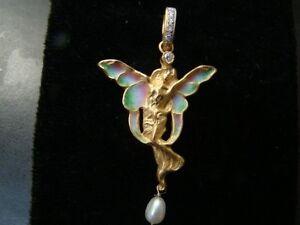 18K Gold Art Nouveau style angel pendant with enamel