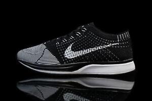58007617893b51 Nike Flyknit Racer White Black Volt Grey Oreo Women s Men s Sport ...