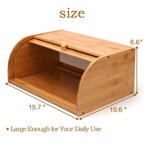 Roll Top Bamboo Wood Bread Box Loaf Container Kitchen Food Storage Bin Large