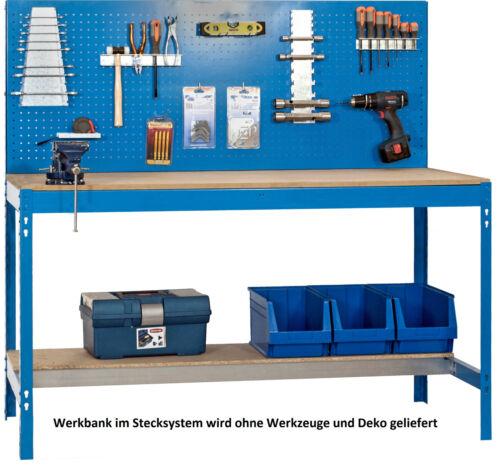 Werkbank mit Ablageboden Lochblech Hakenset für Werkstatt und Garage!