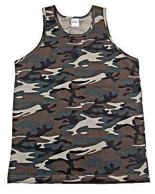 Woodland Camouflage Army Marines Tactical Military Top Army Camo Tank Top 6702