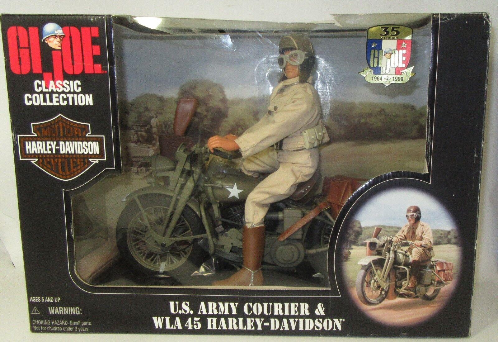 GI JOE US ARMY Courier & WLA 45 HARLEY DAVIDSON MOTORCYCLE DISPATCH RIDER In Box