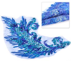 42cm-Pailletten-AufnAher-Blau-Gestickte-Patch-Patchwork-Pfauenfedern-jeans-Deko