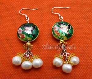 18mm-Dark-Green-Round-Cloisonne-amp-6-7mm-White-Natural-Pearl-Dangle-earring-ea649