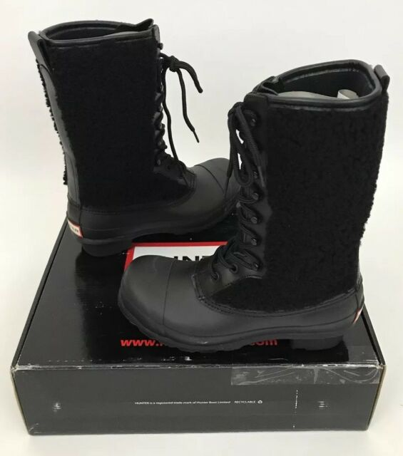 a1876aebb71 Hunter Genuine Shearling Waterproof Lace up Winter BOOTS Black Size ...