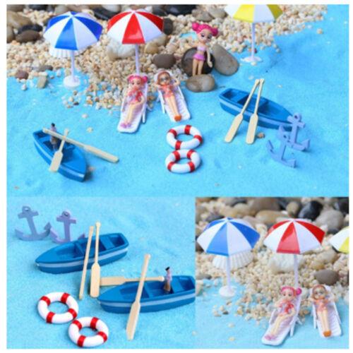 Puppenhaus Garten Figur Miniatur Strand Boot Stuhl Harz Handwerk Ornament C-ab