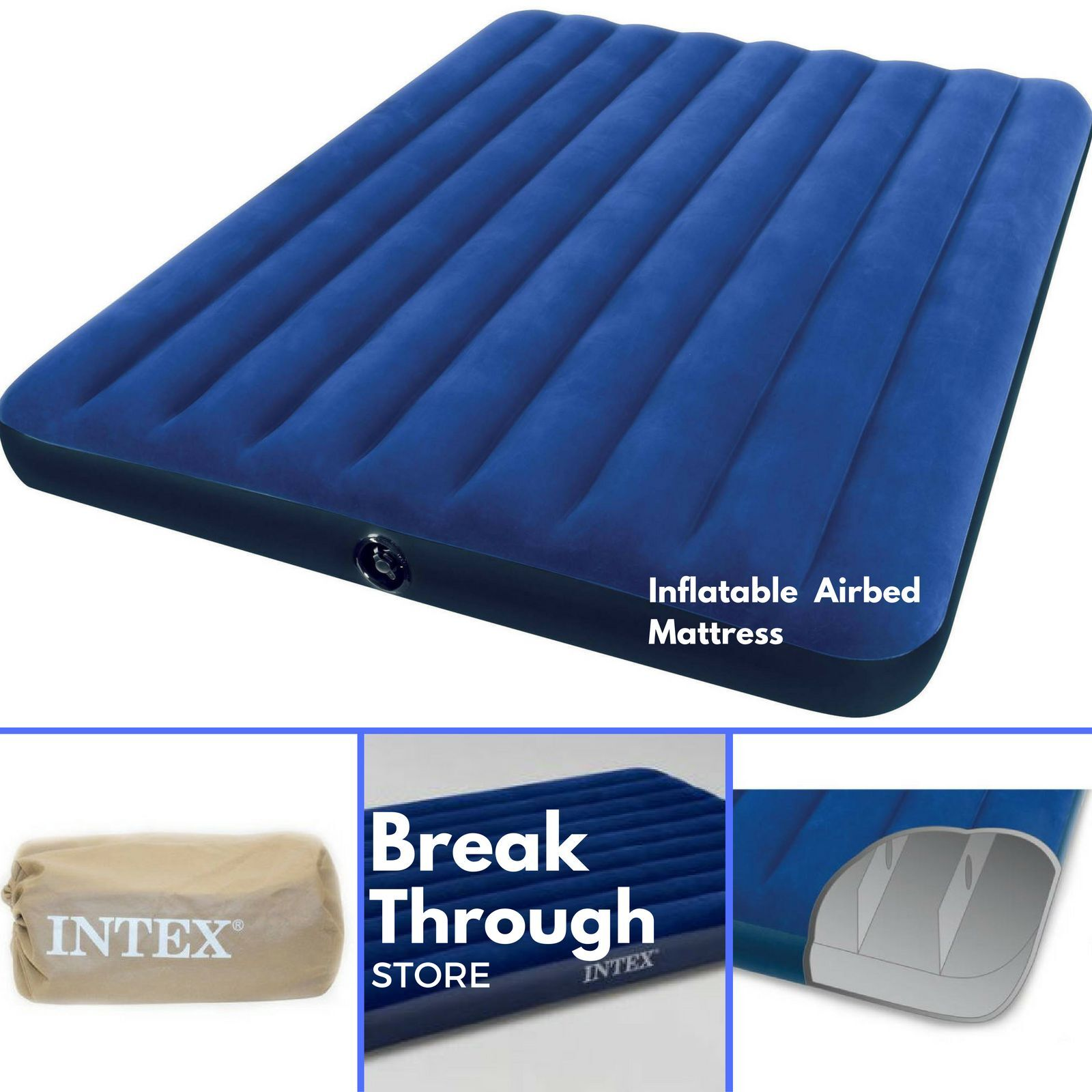 inflatable airbed air mattress queen size portable blow up. Black Bedroom Furniture Sets. Home Design Ideas