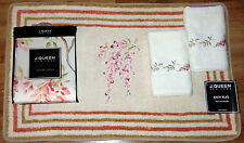 J. Queen NY AVERY Shower CURTAIN Bath Rug & Hand TOWELS 4PC Set Pink Coral Green