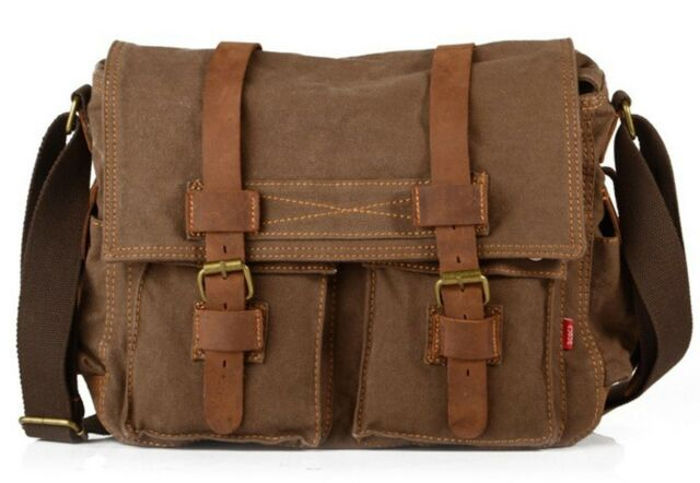 6554f5465c Men s Military Canvas Leather Satchel School 14