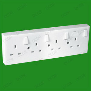 Mains-Switched-Wall-Converter-Socket-1-or-2-to-4-Gang-13A-Fused-UK-3-Pin-White
