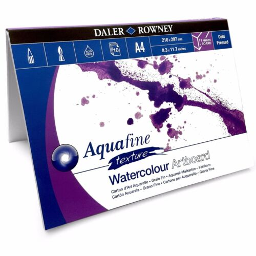 A4 or A3 Daler Rowney Aquafine Watercolour Painting Art Board Pad 10 Sheets