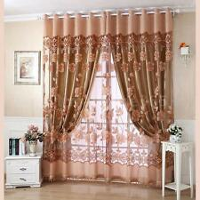 2PCS Coffee Polyester Curtain Linings Panel + Floral Pattern Window Curtain F3X6
