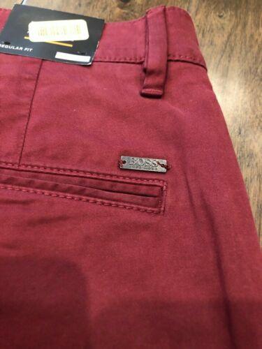 """Hugo Boss Schino Pants Chino Regular Fit /""""D/"""" Dark Open Red,50379154 $128 38X32"""