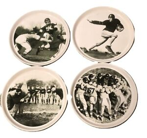 Pottery-Barn-Football-9-1-8-inch-Round-Plates-Set-of-4-Black-and-White