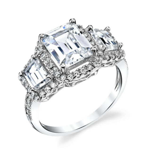 8CT 3 Stone Emerald Cut CZ Sterling Silver Bridal Engagement Wedding Ring