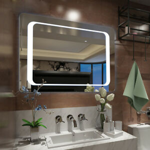 Extra Large Led Illuminated Bathroom Mirror Wall Lights Demister Sensor Switch Ebay