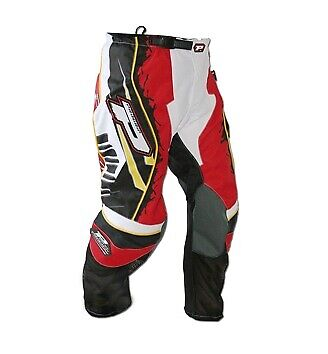 """Progrip Youth-Kids Motocross-Off Road Pants-Trousers 28/"""" Waist-Red-Yellow-Black"""
