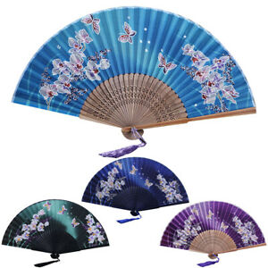 ITS-CO-Vintage-Magnolia-Flower-Butterfly-Chinese-Handheld-Folding-Fan-Dancing