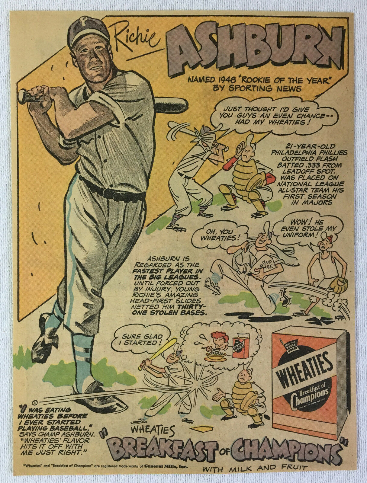 1949 Wheaties Richie Ashburn Cartoon Ad Seite  Philadelphia Phillies Phillies Phillies Baseball ef3e47