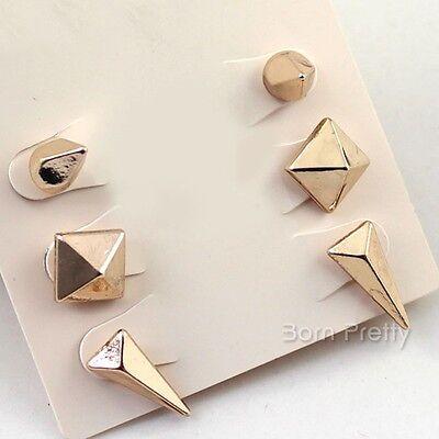 6Pcs/set Stylish Punk Gold Geometrical Figure Ear Stud Jewelry Decoration