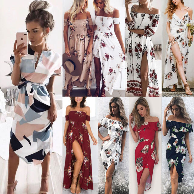 Boho Womens Holiday Off Shoulder Floral Maxi Dresses Ladies Beach Party Dress