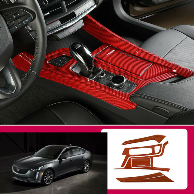 For Cadillac Ct5 2019-2020 Red Carbon Fiber Central