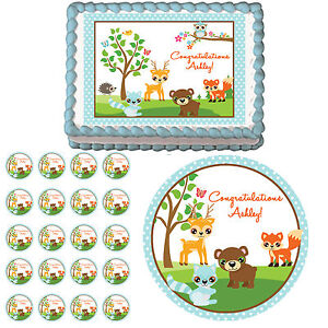 Blue Woodland Forest Animals Edible 1st Birthday Baby ...