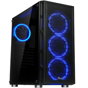 ATX-Mid-Tower-Computer-Gaming-PC-Case-Tempered-Glass-Dual-Ring-Blue-LED-Fans