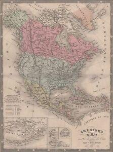 Amerique-Etats-Unis-USA-Decoration-Carte-Vintage-Atlas-gravure-originale-XIXe