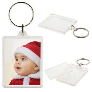 20  Clear Acrylic Plastic BLANK KEYRINGS 45 x 35 mm Insert PASSPORT PHOTO SIZE