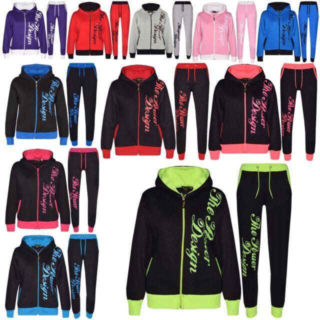 Kids Tracksuit Boys Girls Designers Zipped Top Bottom Jogging Suit 5-13 Years
