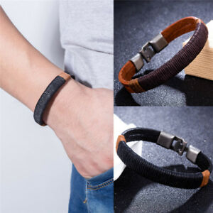 Surfer-Men-Vintage-Rope-Wrap-Leather-Wristband-Bracelet-Cuff-Black-Brown-SP