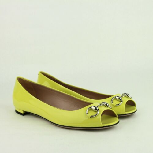 dd64f1c6724 3 of 8 Gucci Neon Yellow Patent Leather Flat Shoe with Silver Horsebit  371199 7209