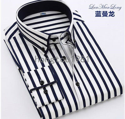 Korean Mens Striped Tops Long Sleeve Shirts Casual Business Slim Work Formal New