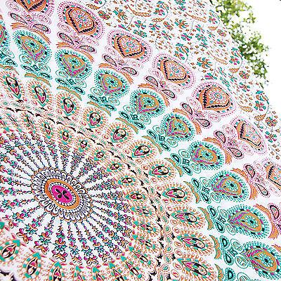 Handmade Tapestry Wall Decor White Peacock Mandala Twin Bedspread Colorful