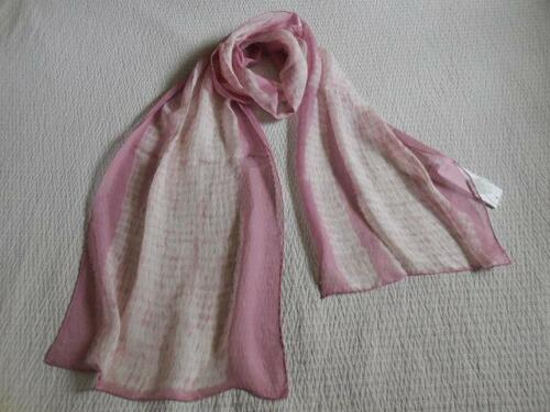 NWT NIP $168 EILEEN FISHER Woodgrain Sheer Silk Shibori Scarf ROSE QUARTZ 73X14
