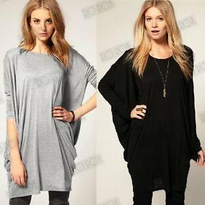 Womens-Oversized-Long-Sleeve-Punk-Style-Cool-Tunic-T-Shirt-Plus-Top-UK-Size-8-18